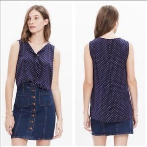 Madewell Navy Silk Tank Top with Stars and Dots